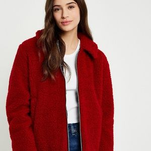 NEW UO Urban renewal zip teddy jacket red remnant